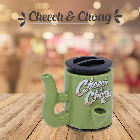 Cheech and Chong Ceramic Storage Jar & Pipe - Dual-Function, | Storage Jars with Pipe | Containers | Canisters - 3oz Stache Jar Design (Grey)