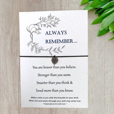 Always Remember Wish Bracelet Message Card & Envelope