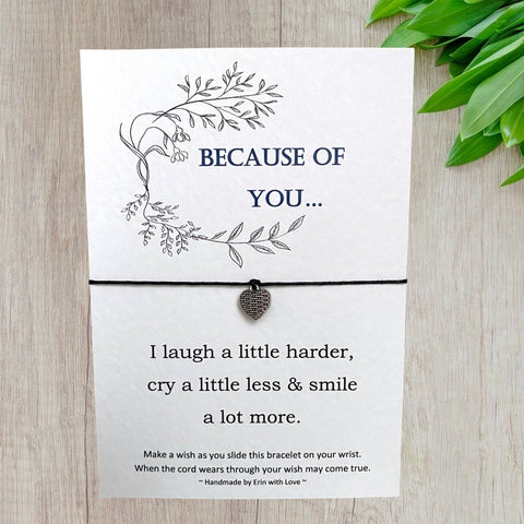 Because of You Wish Bracelet Message Card & Envelope