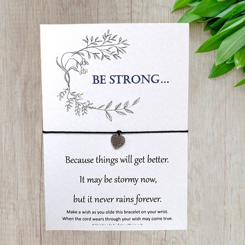 Be Strong Wish Bracelet Message Card & Envelope