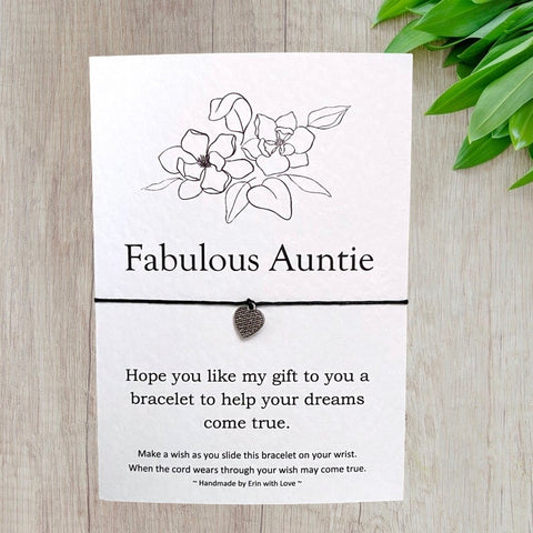 Fabulous Auntie Wish Bracelet Message Card & Envelope