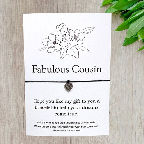 Fabulous Cousin Wish Bracelet Message Card & Envelope