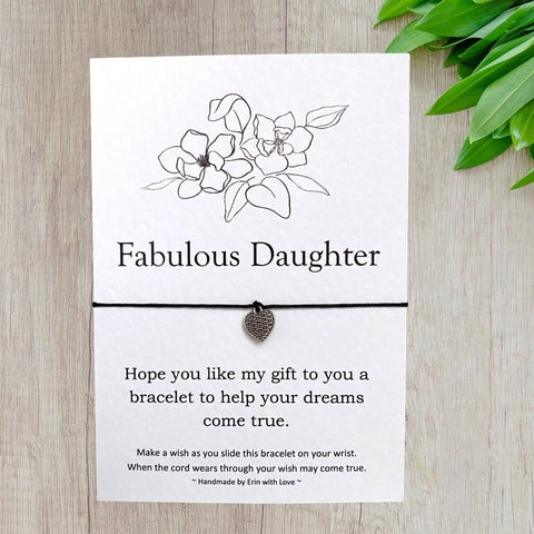 Fabulous Daughter Wish Bracelet Message Card & Envelope