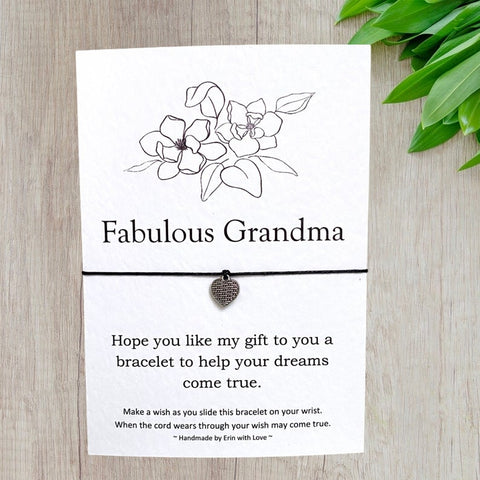 Fabulous Grandma Wish Bracelet Message Card & Envelope