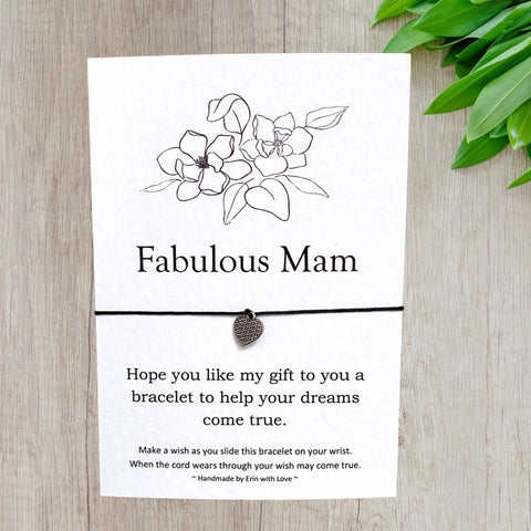 Fabulous Mam Wish Bracelet Message Card & Envelope