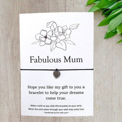 Fabulous Mum Wish Bracelet Message Card & Envelope