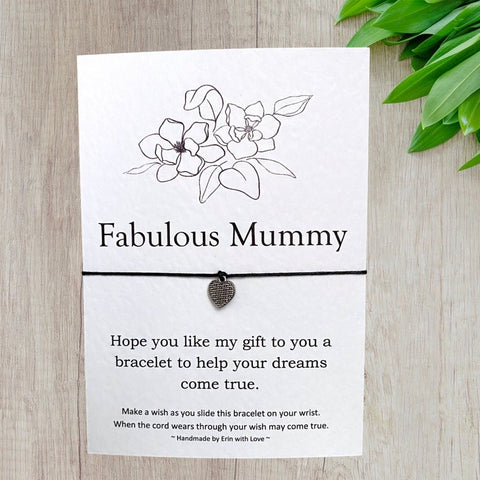 Fabulous Mummy Wish Bracelet Message Card & Envelope