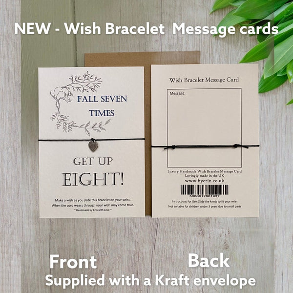 Fall Seven Times, Get Up Eight!  Wish Bracelet Message Card & Envelope
