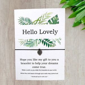 Hello Lovely Tropical Range Wish Bracelet Message Card & Envelope
