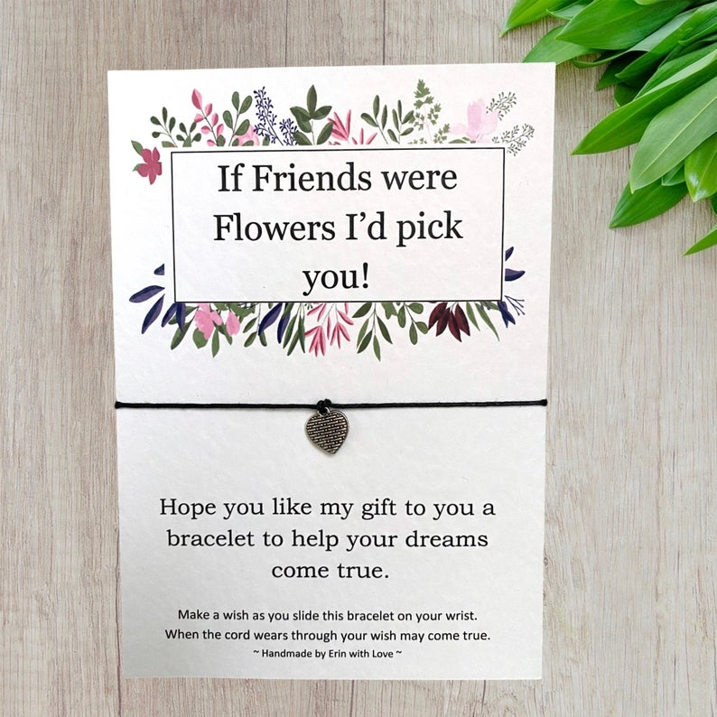 If Friends Were Flowers... Wish Bracelet Message Card & Envelope