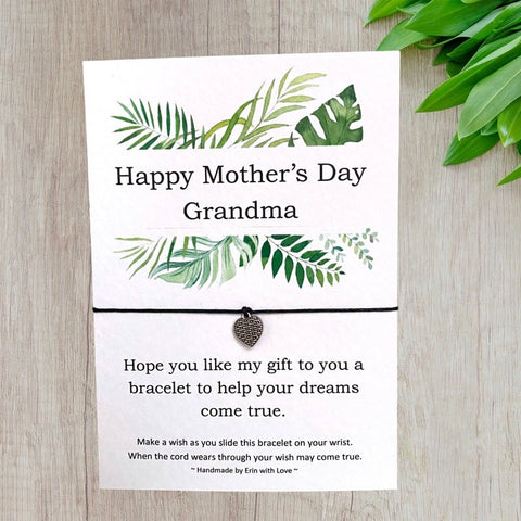 Happy Mother's Day Grandma Tropical Range Wish Bracelet Message Card & Envelope