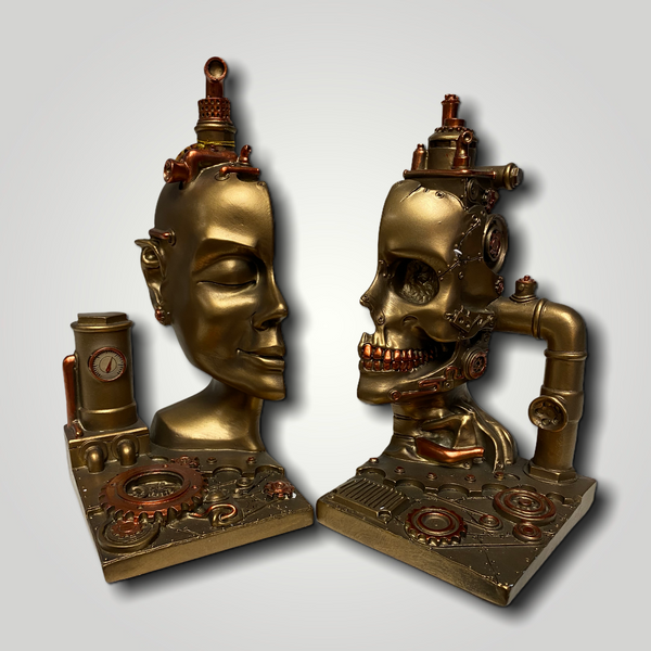 Steampunk Industrial Skull Bookends
