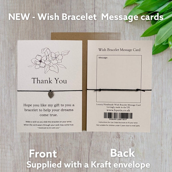 Thank you Wish Bracelet Message Card & Envelope