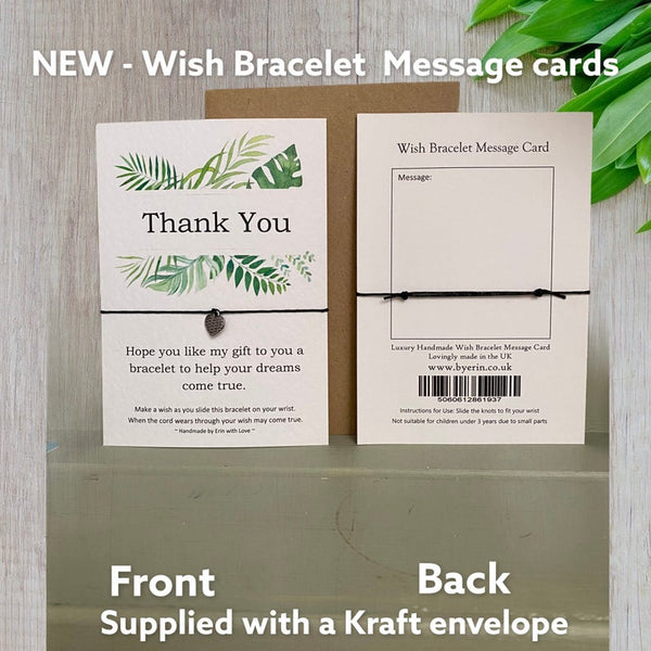 Thank you Tropical Range Wish Bracelet Message Card & Envelope