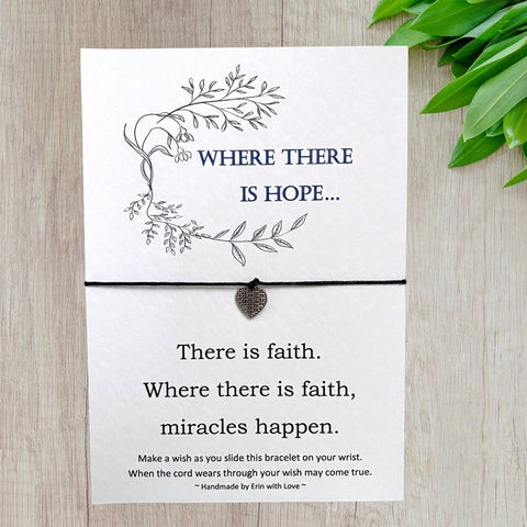 Where there is Hope Wish Bracelet Message Card & Envelope