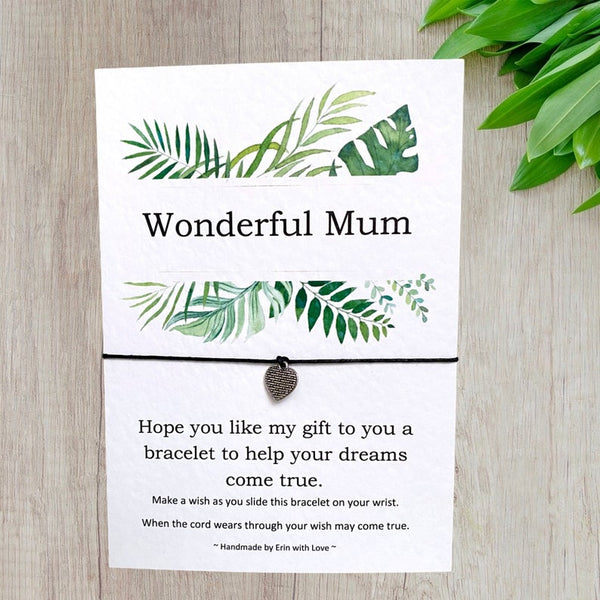 Wonderful Mum Tropical Range Wish Bracelet Message Card & Envelope