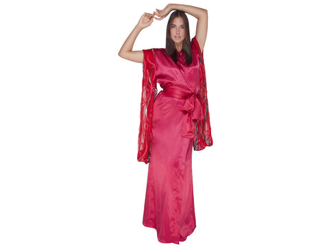 Romantique - Deep Red Silk Charmeuse, w/ burnout Silk Sleeves