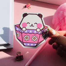 Load and play video in Gallery viewer, Origami Teacup Panda Holographic Vinyl Sticker