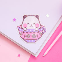 Load image into Gallery viewer, Origami Teacup Panda Holographic Vinyl Sticker