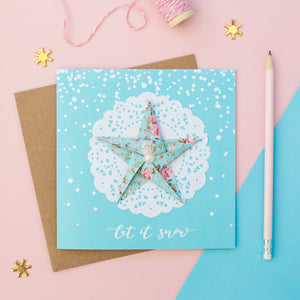 Blue Snow - Pastel Blue Floral Origami Star Christmas Card
