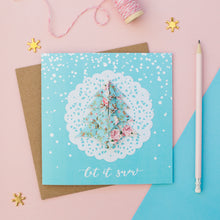 Load image into Gallery viewer, Blue Snow - Pastel Blue Floral Origami Tree Christmas Card