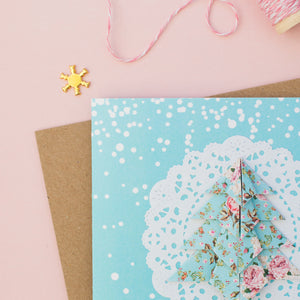Blue Snow - Pastel Blue Floral Origami Tree Christmas Card