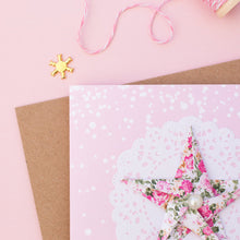 Load image into Gallery viewer, Pink Snow - Pastel Pink Floral Origami Star Christmas Card