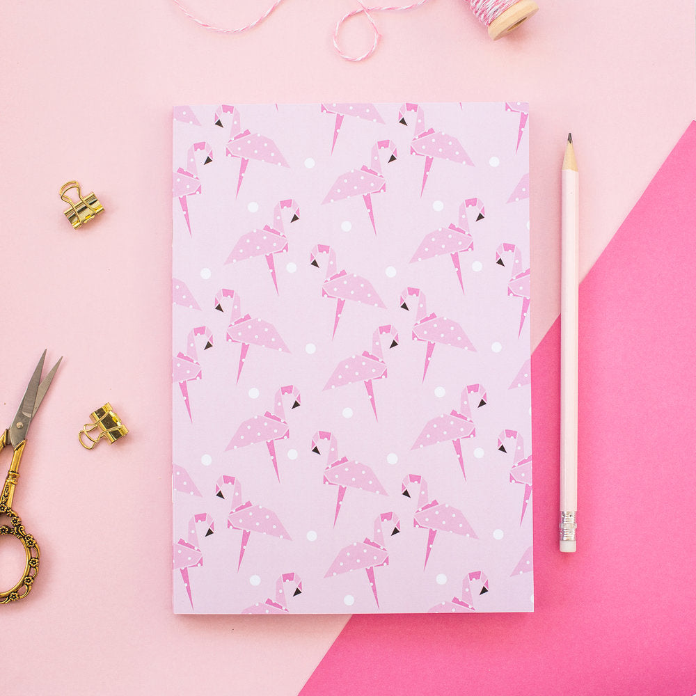 Pink Origami Flamingo A5 Notebook