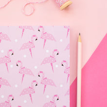 Load image into Gallery viewer, Pink Origami Flamingo A5 Notebook