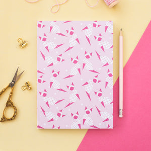 Pink Origami Kitty A5 Notebook