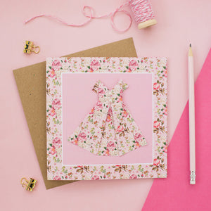 Pink Blush - Floral Origami Dress Card