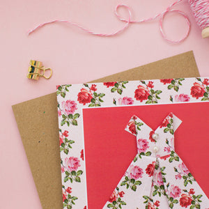 Romantic Rose - Floral Origami Dress Card