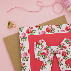 Romantic Rose - Floral Origami Bow Card