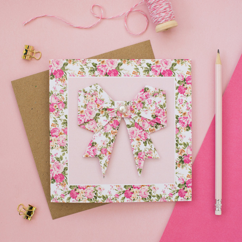 Summer Flowers - Floral Origami Bow Card