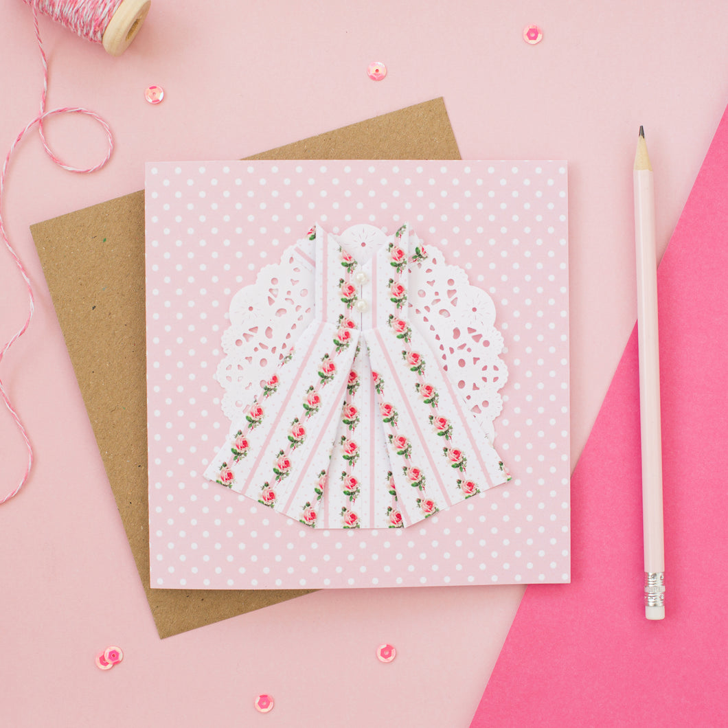 Floral Stripe - Pink Origami Dress Card