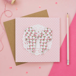 Sweet Rose - Floral Origami Bow Card