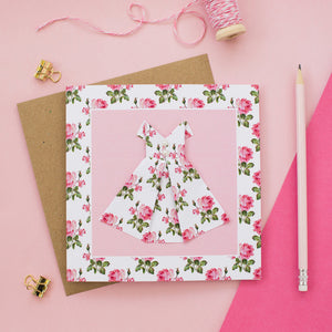 Pink Rose - Origami Dress Greetings Card