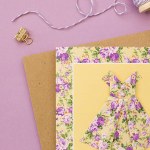 Floral Sunshine - Yellow Origami Dress Card