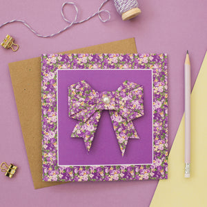 Forest Flowers - Purple Floral Origami Bow Card