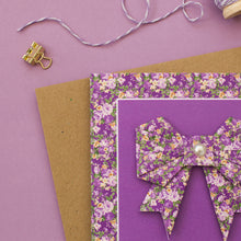 Load image into Gallery viewer, Forest Flowers - Purple Floral Origami Bow Card