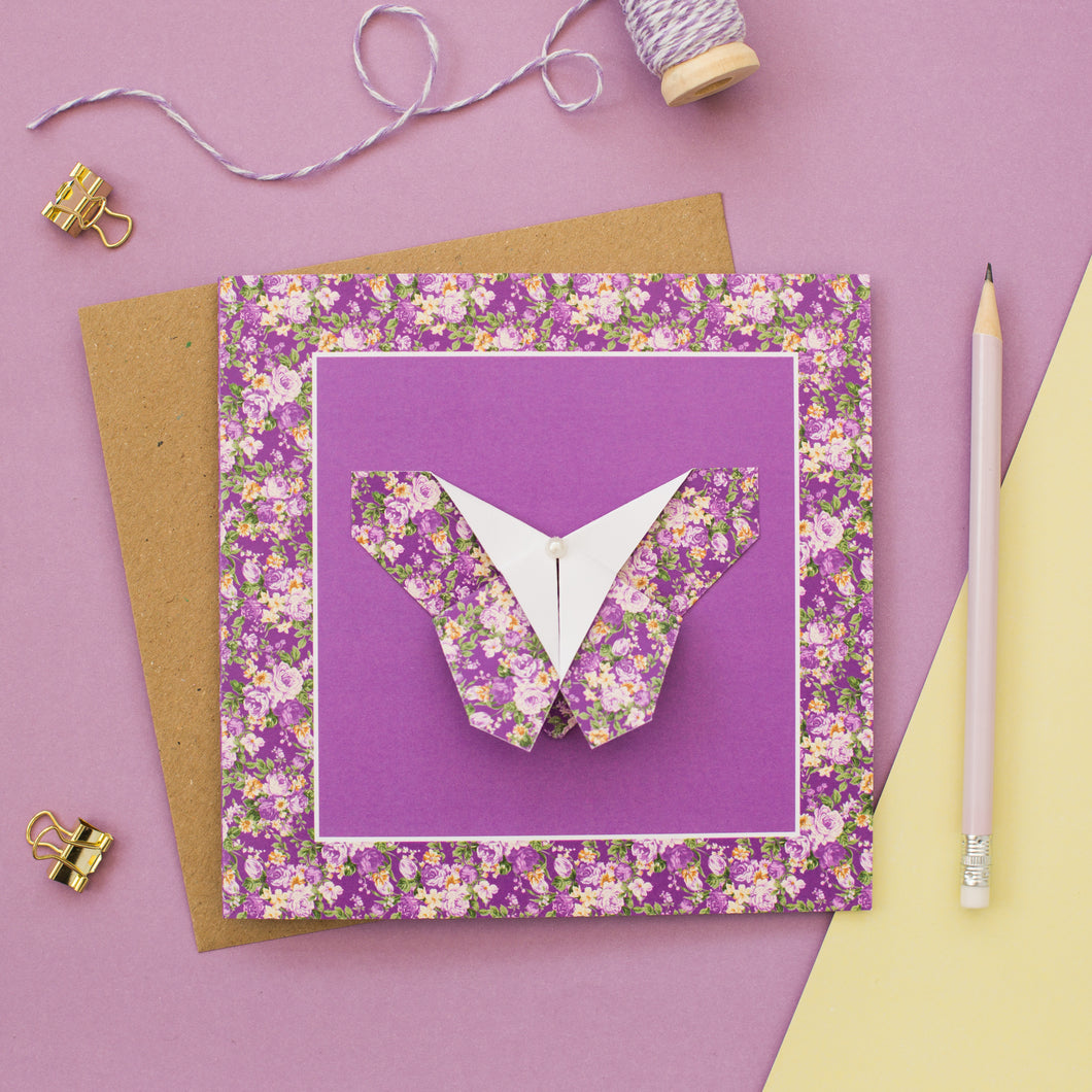 Forest Flowers - Purple Floral Origami Butterfly Card