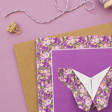 Load image into Gallery viewer, Forest Flowers - Purple Floral Origami Butterfly Card