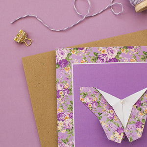 Purple Flowers - Floral Origami Butterfly Card