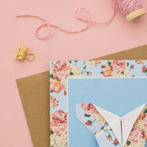Pastel Blush - Floral Origami Butterfly Card