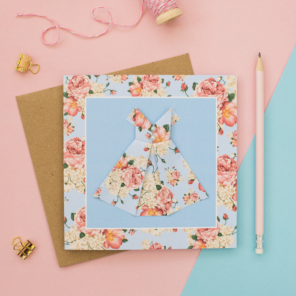 Pastel Blush - Floral Origami Dress Card