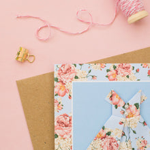 Load image into Gallery viewer, Pastel Blush - Floral Origami Dress Card