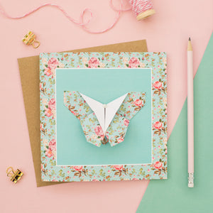 Blue Blush - Floral Origami Butterfly Card