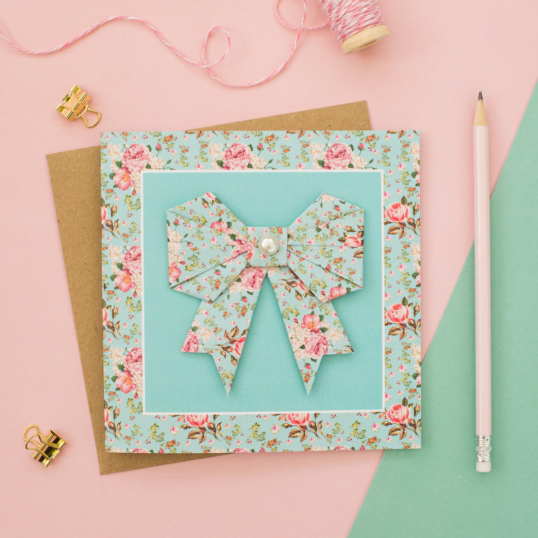 Blue Blush - Floral Origami Bow Card