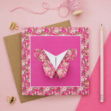 Load image into Gallery viewer, Floral Fuchsia - Origami Butterfly Greetings Card