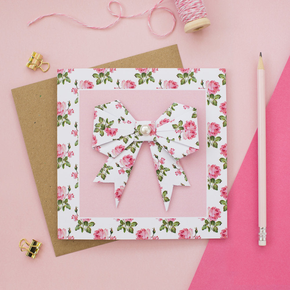 Pink Rose - Origami Bow Greetings Card